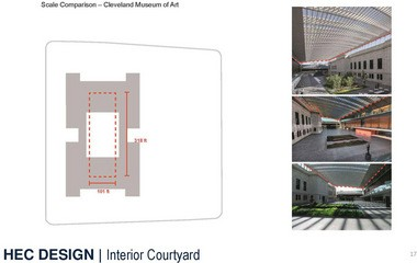 A slide compares the sizes of the central court designed for the new Cleveland Clinic/CWRU Health Education Campus and the atrium of the Cleveland Museum of Art.