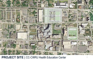 A site plan shows the location of the proposed Health Education Campus to be built at the Cleveland Clinic.
