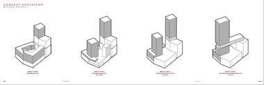 """Diagrams prepared by NBBJ show how the """"massing"""" of the nuCLEus project in downtown Cleveland evolved from fortress-like origins, left, to a more graceful and original tower and bridge concept, right."""