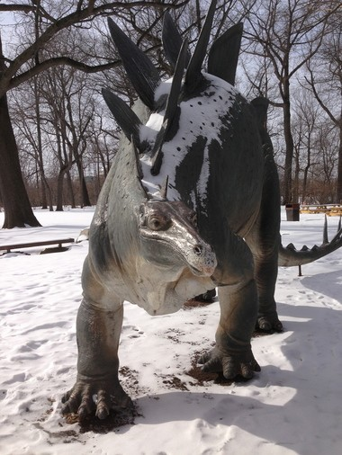 """""""Steggie,"""" a familiar presence outside the Cleveland Museum of Natural History."""