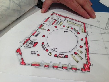 A sketch by Cleveland architect John Williams documents part of his design process in inserting a Heinen's supermarket inside the Cleveland Trust Rotunda.