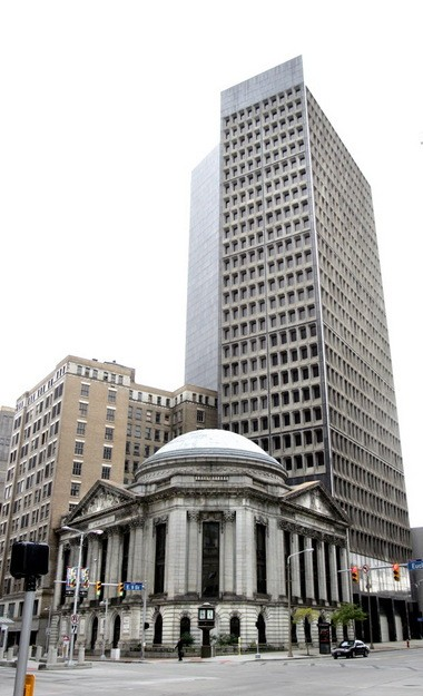 A 2009 photo of the Cleveland Trust Building with the Breuer Tower beyond.