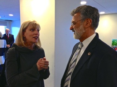 LAND Studio Executive Director Ann Zoller, left, spoke Friday morning with Cleveland Mayor Frank Jackson just before a press conference at the Renaissance Cleveland Hotel on completion of financing for the renovation of Public Square starting Monday.