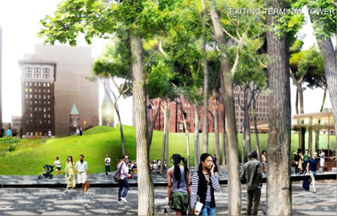 A rendering of the idea of building a manmade hill over the central intersection in Public Square, one of several concepts unveiled in 2009 by landscape architect James Corner.