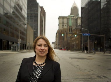 Grace Gallucci posed on Superior Avenue for a portrait in 2013 after becoming director of NOACA, the Northeast Ohio Areawide Coordinating Agency.