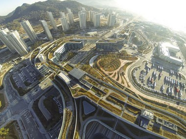 An aerial photo of the Public Administration Town in Sejong City, Korea, master planned by landscape architect Diana Balmori, a finalist in the national design competition to improve areas below the Main Avenue Bridge in Cleveland.