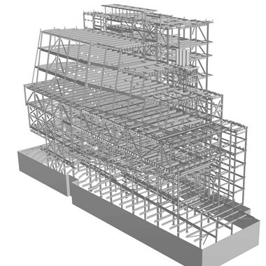 A computer drawing depicts part of the steel framing for the new Whitney Museum in New York.