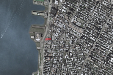 In situ: A red rectangle marks the new Whitney Museum location on the lower West Side of Manhattan.