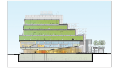 A cross section of the new Whitney Museum from west (left) to east.