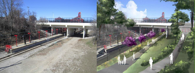 A before/after rendering of a portion of the Red Line Greenway.