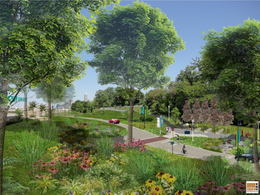 A lush rendering by City Architecture shows what the West Shoreway will look like after a $40 million project designed by ODOT.