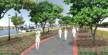 A rendering of the proposed of a proposed recreational loop on Cleveland's North Marginal Road.