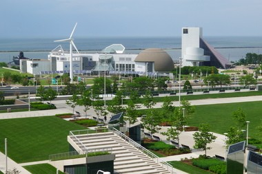 What you'll see from the new Hilton Cleveland Downtown Hotel: A view toward the Rock and Roll Hall of Fame and Museum and North Coast Harbor from within the hotel's rising guestroom tower.