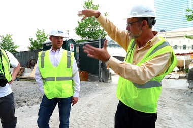 Cleveland lawyer Jeffrey Appelbaum, right, during a tour of Cleveland's new convention hotel on Friday, with Jason Rhodebeck, a project manager for Turner Construction.
