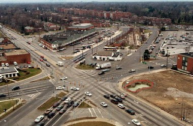 An overview of the Van Aken Center area in Shaker Heights, now the focus of an effort to create a dense, walkable town center in place of shopping strips and parking lots.