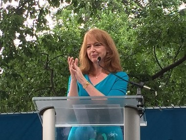 Evalyn Gates, executive director and CEO of the Cleveland Museum of Natural History, spoke Monday at the groundbreaking for the $20 million first phase of the institution's $150 million expansion and renovation.