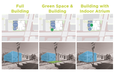 A page from a report by Kent State University Cleveland Urban Design Collaborative shows how the Cleveland Public Library's South Branch could be expanded.
