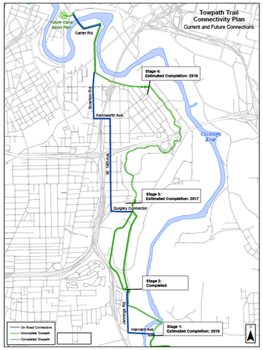 A map shows the four stages of the six-mile section of Towpath Trail planned for Cleveland at a cost of $50 million, and scheduled for completion in 2019.