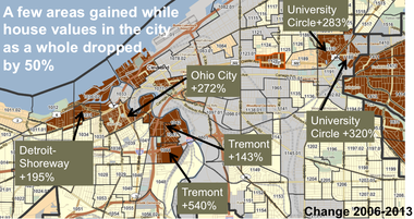 A map prepared by scholar Alan Mallach shows how housing values have risen sharply in certain Cleveland neighborhoods with social, cultural and geographical amenities, including Tremont, located along the anticipated route of the Towpath Trail.