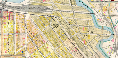 A 19th-century Sanborn map details part of the area to be traversed by Stage 3 of the Towpath Trail, an area that included a 19th-century railroad roundhouse.