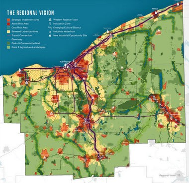 The summary image from the Vibrant NEO 2040 vision shows how Northeast Ohio's 12 counties could be made healthier, greener, more economically competitive and better connected in the future, if sprawl is curbed and development encouraged in areas already developed.