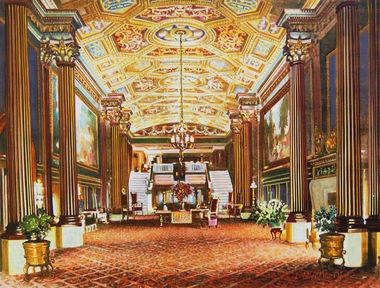 A colorized 1921 photo of the Ohio Theatre lobby as it originally appeared.
