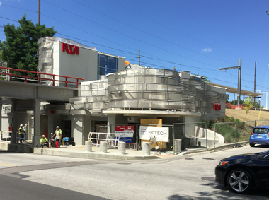 The nearly finished Mayfield Road RTA Red Line station has improved what once was an ugly corner, but the tunnel under the railroad tracks just to the west of the station are still an eyesore.