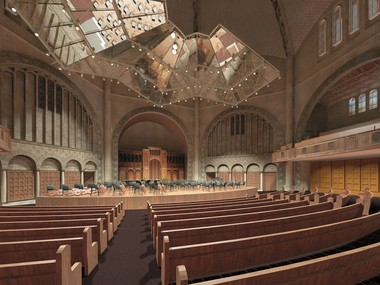 A rendering depicts the acoustical canopy as it will appear in the renovated Temple-Tifereth Israel, soon to be reborn as the Tamar and Milton Maltz Performing Arts Center.