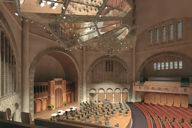 A rendering shows how a new acoustical canopy will appear in the renovated Temple-Tifereth Israel, when viewed from the mezzanine level.