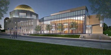 A rendering depicts the expanded Temple-Tifereth Israel complex called for in an expansion plan devised by Case Western Reserve University.