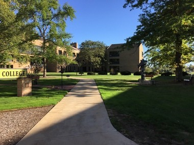 Inside the main quadrangle at Ursuline College: Space and light shaped by the first buildings on campus designed by Peter van Dijk in the 1960s.