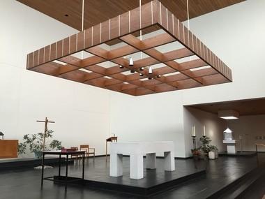 Inside the minimalist chapel at Ursuline College.
