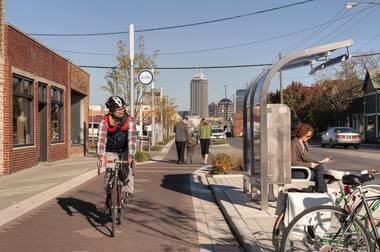 The Cultural Trail in Indianapolis provides eight miles of high-quality bike paths linking the city's downtown to a half dozen surrounding cultural districts.