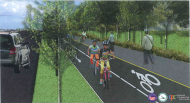 A rendering prepared by the Cleveland City Planning Commission shows a the proposal for a protected bike path along Opportunity Corridor.