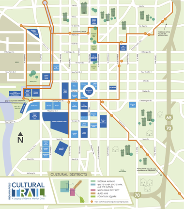A map of the Indianapolis Cultural Trail.