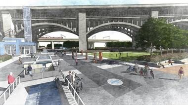 A rendering of the future Canal Basin Park, from a point of view near where the Clarence Van Duzer building stands, for now.