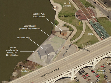 A slide from a presentation prepared by the Northeast Ohio Regional Sewer District shows the site of the Van Duzer studio and the adjacent sewer pump station, which will be expanded.