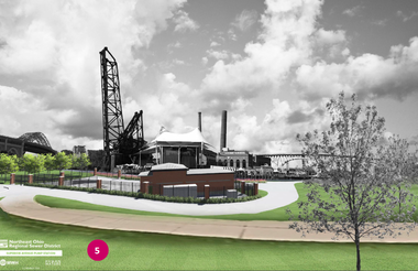 A rendering depicts the future view looking southwest from Settler's Landing Park where a new sewage pump station will replace an existing one and require demolition of the Van Duzer studio building.