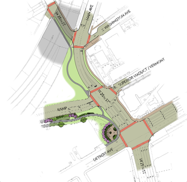 The latest revised plans for the Shoreway-West 25th Street area, prepared by ODOT for The Plain Dealer and dated Dec. 17.