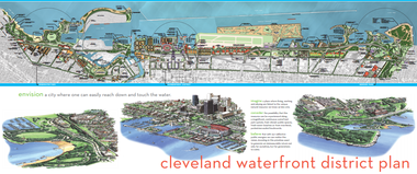A poster of Cleveland's 2004 Waterfront District Plan.