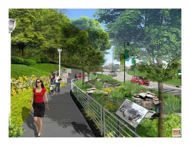 A City Architecture rendering of the pedestrian paths that will be built along the West Shoreway near West 73rd Street as part of a $95 million makeover. Critics including Ward 3 Councilman Joe Cimperman say ODOT's plans for amenities and safety around the West 25th and West 28th Street interchanges don't meet this standard of quality.