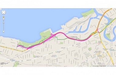 A map of the West Shoreway project.