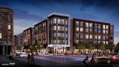 A Vocon rendering of the proposed Snavely Group residential development that would overlook the revamped intersection of West 25th Street and Detroit Avenue. Developer Peter Snavely Jr. did not return calls seeking comment about the ODOT Shoreway project.