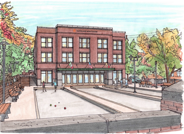 A rendering shows the proposed second phase expansion of Alta House, which would give the property a new facade facing north to Mayfield Road in Cleveland's Little Italy.