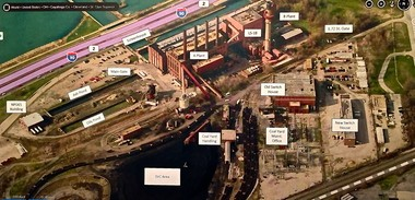 "A labeled photo of the FirstEnergy Lake Shore plant omits recent improvements such as new voltage control equipment installed recently on the site in the ""SVC Area."""