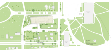 The site plan of the new KSU architecture school building.
