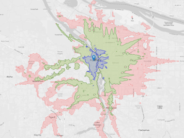 Jarrett Walker's Portland isochrone shows the reach of transit in color-coded 15-minute increments. Distances include average wait times for buses and rapid rail. Map credit: Conveyal