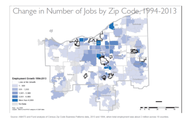 """A map prepared for a recent report by the nonprofit Fund for Our Economic Future charts """"job sprawl"""" in Northeast Ohio."""