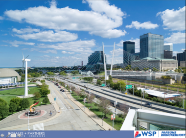 Cuyahoga County is still seeking a design-build contractor to erect the downtown lakefront pedestrian bridge designed by Boston architect Miguel Rosales with Parsons Brinckerhoff.