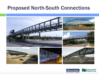 Photographs indicate examples of the types of bridges that could be added to the East Side lakefront according to the latest plan for public improvements in the area. The examples suggest that the new bridges will be functional, not iconic, in terms of design aspiration.